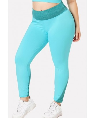 Light-blue Patchwork Yoga Plus Size Sports Leggings