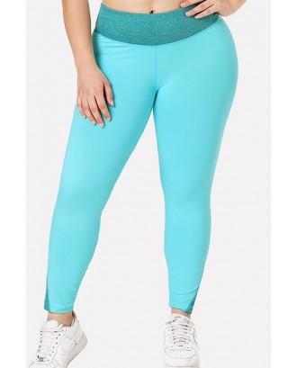 Light-blue Patchwork Yoga Plus Size Sports Leggings